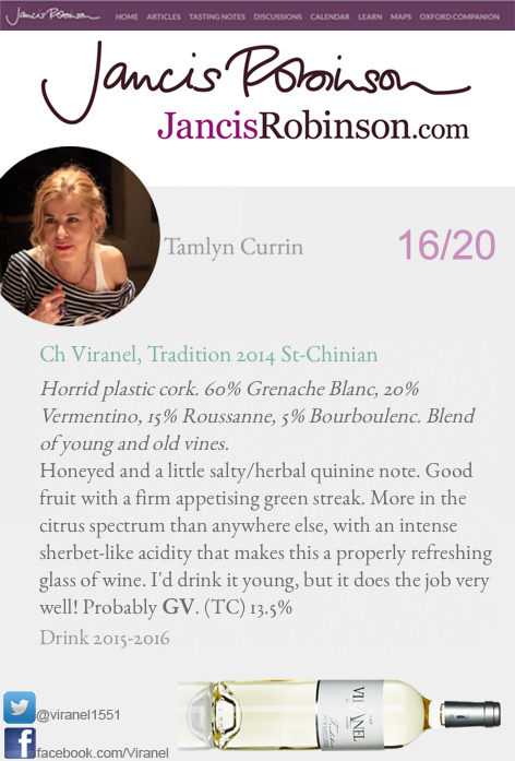 Jancis Robinson Tradition White Viranel Tamlyn Currin