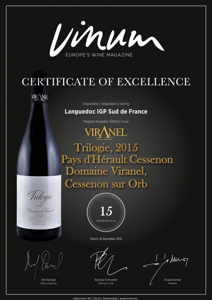 Vinum Certificate of Excellence 2015 Trilogie