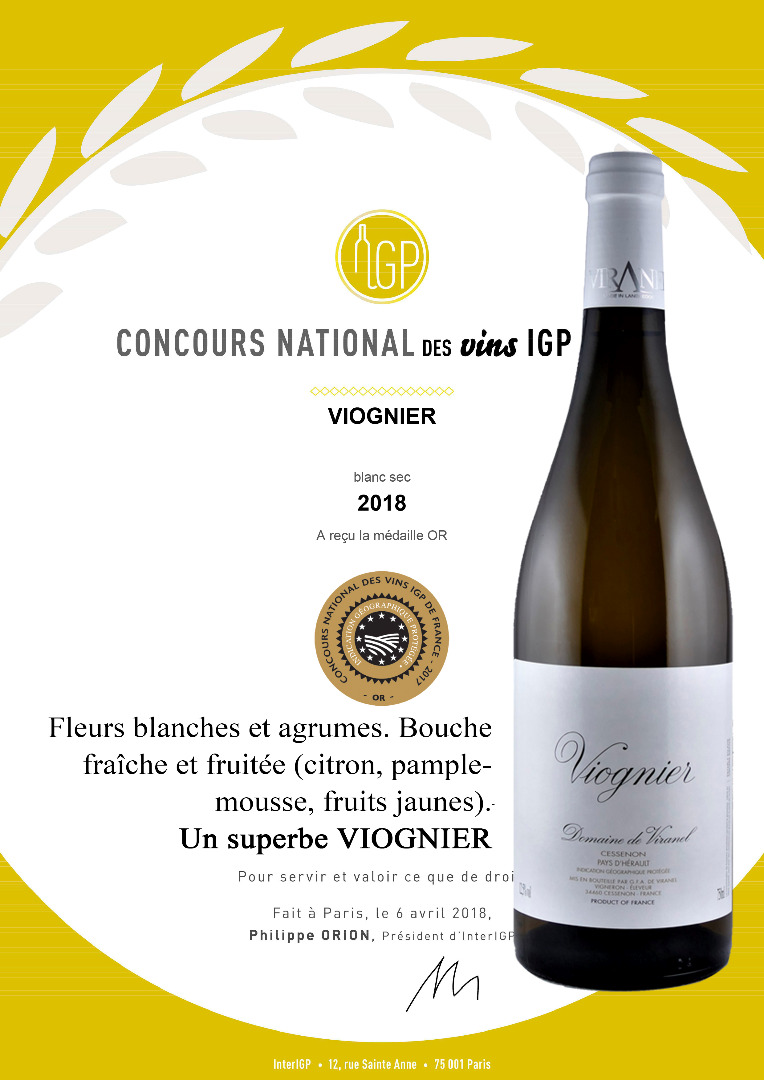 IGP CONCOURS VIOGNIER 2018 Medaille OR Languedoc-wines