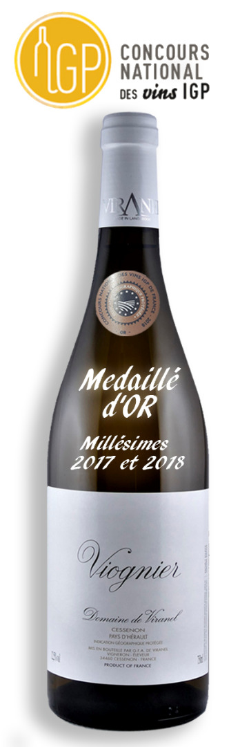 IGP CONCOURS VIOGNIER 2018 Medaille OR Languedoc wines